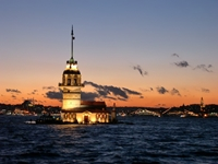 Istanbul Maidens Tower Night View